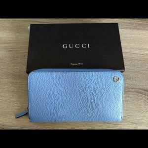GUCCI 449347 Interlocking G Leather  Wallet, Blue